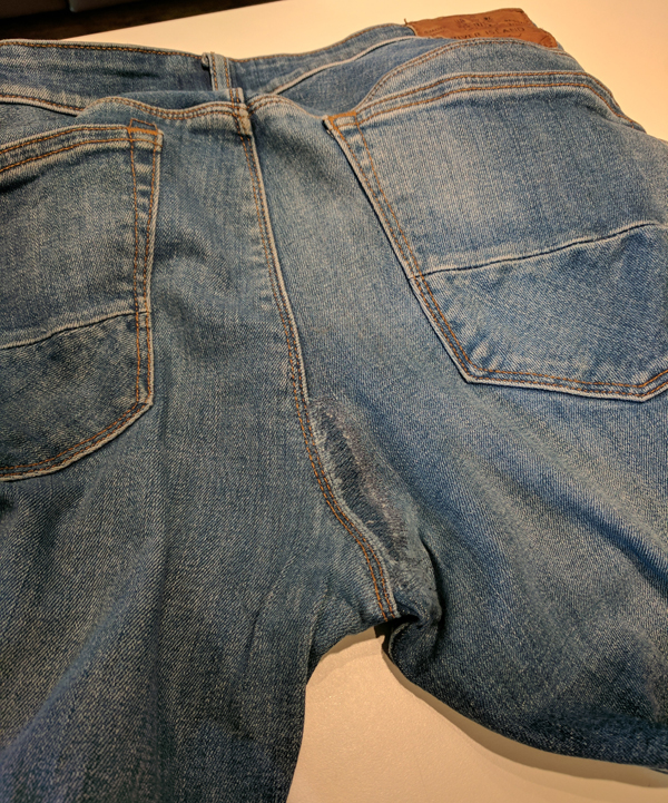 Jeans sown and repaired